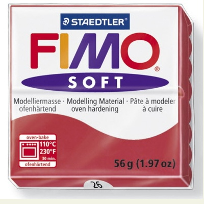 STAEDTLER FIMO SOFT OVEN BAKE CLAY 26 CHERRY RED 57G