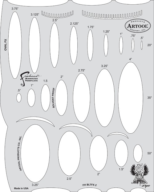 ARTOOLPRODUCTS ARTOOL FREEHAND AIRBRUSH TEMPLATE BLTFX2 OVAL FX