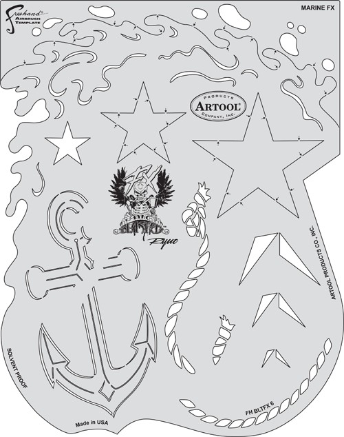 ARTOOLPRODUCTS ARTOOL FREEHAND AIRBRUSH TEMPLATE BLTFX6 MARINE FX