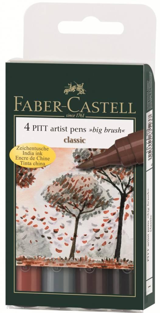 FABER CASTELL PITT ARTIST PEN BIG BRUSH SET/4 CLASSIC