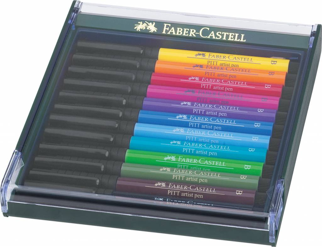 FABER CASTELL PITT ARTIST PEN BRUSH SET/12 INTENSIVE COLOURS