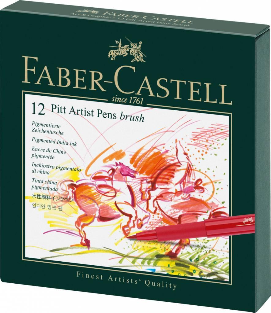 FABER CASTELL PITT ARTIST PEN BRUSH SET/12 STUDIO BOX
