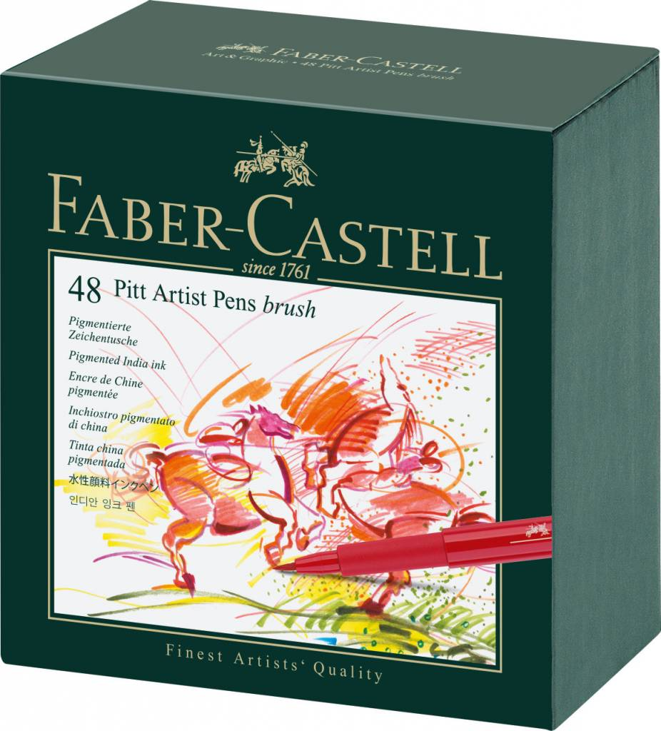 FABER CASTELL PITT ARTIST PEN BRUSH SET/48 STUDIO BOX