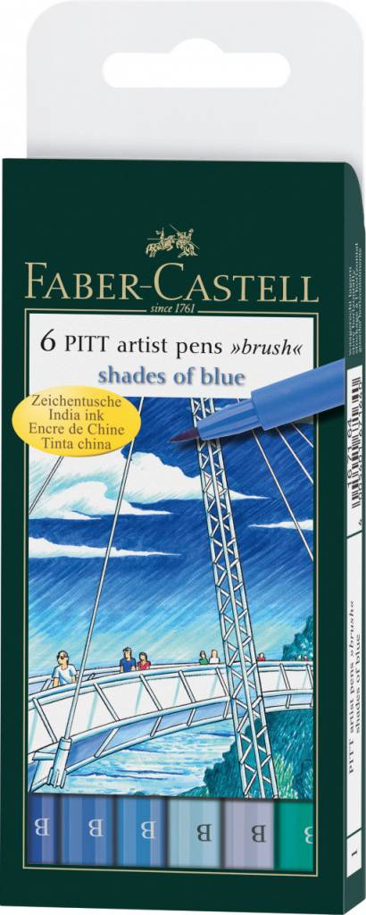 FABER CASTELL PITT ARTIST PEN BRUSH SET/6 SHADES OF BLUE