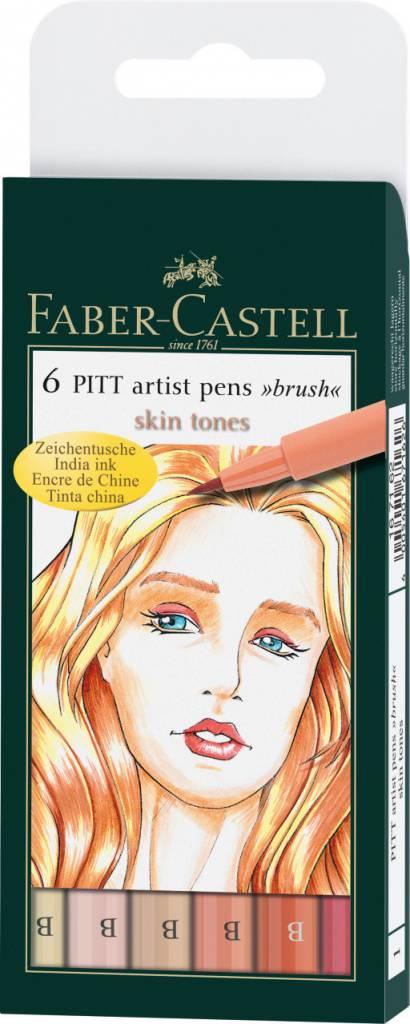 FABER CASTELL PITT ARTIST PEN BRUSH SET/6 SKIN TONES