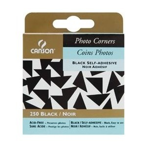 CANSON CANSON PHOTO CORNERS SELF-ADHESIVE BLACK 250/PK    CAN-100510370