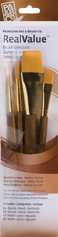 PRINCETON PRINCETON REALVALUE BRUSH SET NO. 9146 SH GOLD TAKLON