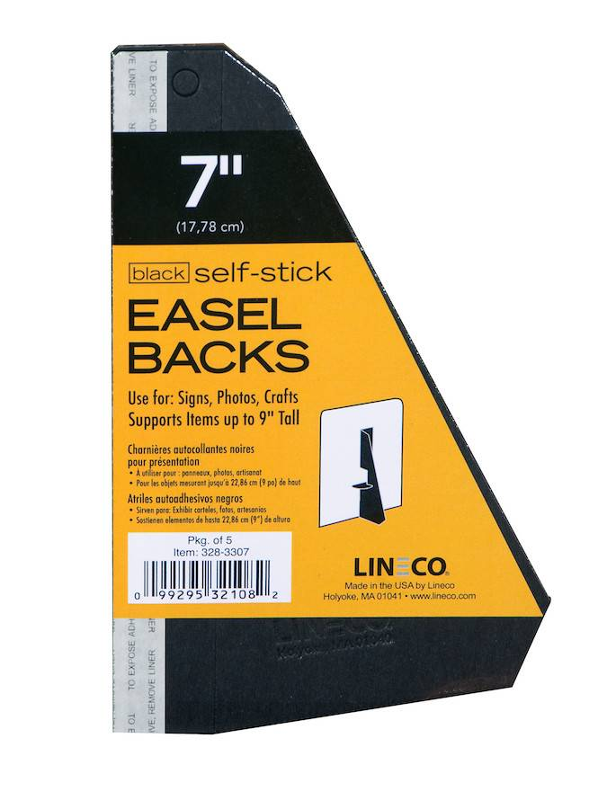 LINECO LINECO SELF-STICK EASEL BACKS BLACK 7 INCH 5/PK
