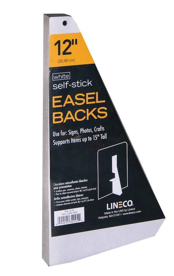 LINECO LINECO SELF-STICK EASEL BACKS WHITE 12 INCH 25/PK