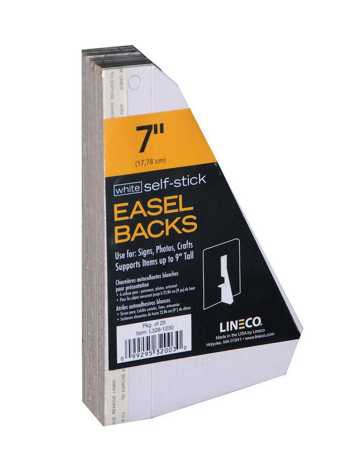 LINECO LINECO SELF-STICK EASEL BACKS WHITE 7 INCH 25/PK