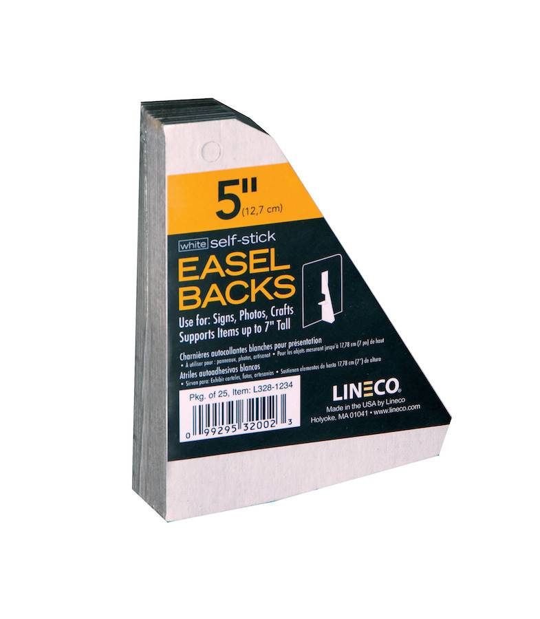 LINECO LINECO SELF-STICK EASEL BACKS WHITE 5 INCH 25/PK