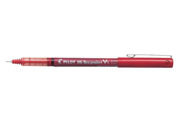 PILOT PILOT HI-TECPOINT V5 ROLLER BALL PEN EXTRA FINE 0.5MM RED