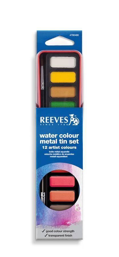 REEVES REEVES WATERCOLOUR PAN SET/12 SILVER TIN    4790480