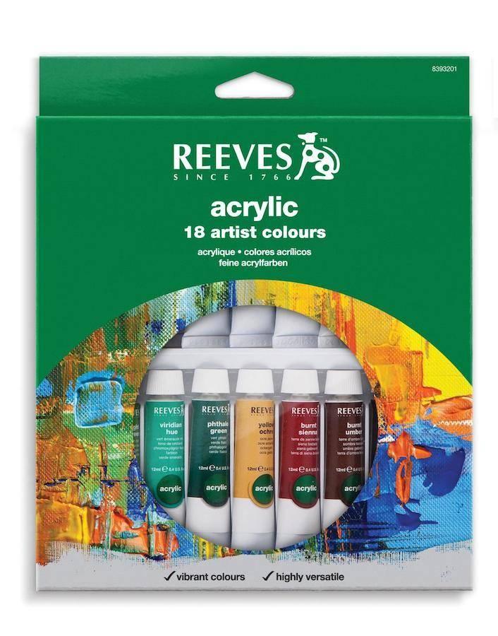 REEVES REEVES ACRYLIC TUBE SET/18 10ML    8394210