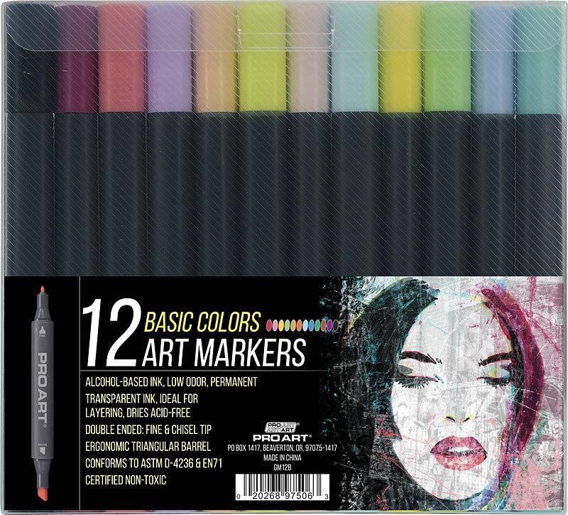 PRO ART PRO ART MARKERS SET/12 BASIC COLOURS NON-TOXIC
