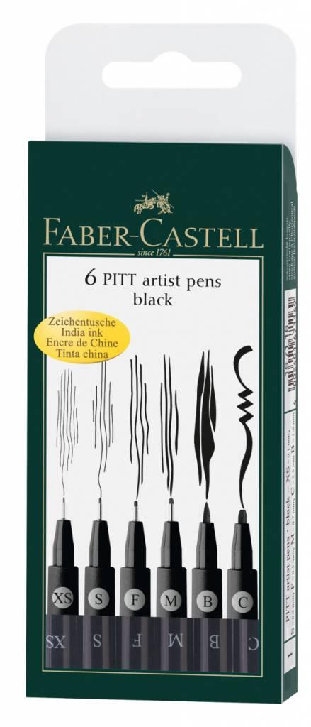 FABER CASTELL PITT ARTIST PEN BLACK SET/6