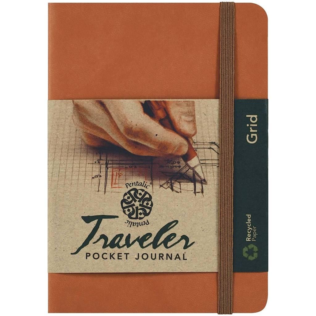 PENTALIC PENTALIC TRAVELER POCKET JOURNAL GRID 6X4 BROWN