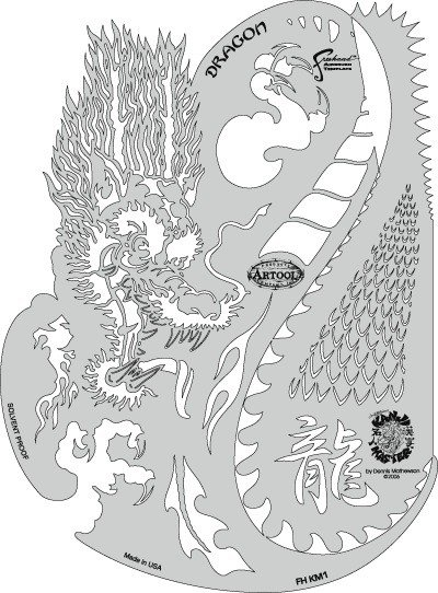 ARTOOLPRODUCTS ARTOOL FREEHAND AIRBRUSH TEMPLATE KM1 KANJI MASTER DRAGON