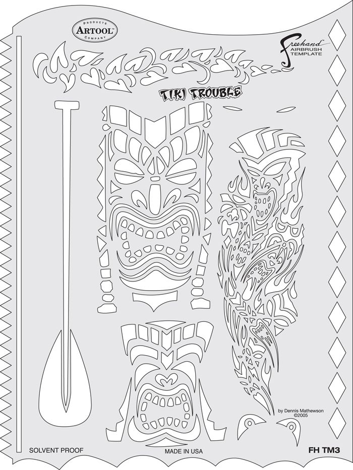 ARTOOLPRODUCTS ARTOOL FREEHAND AIRBRUSH TEMPLATE TM3 TIKI TROUBLE