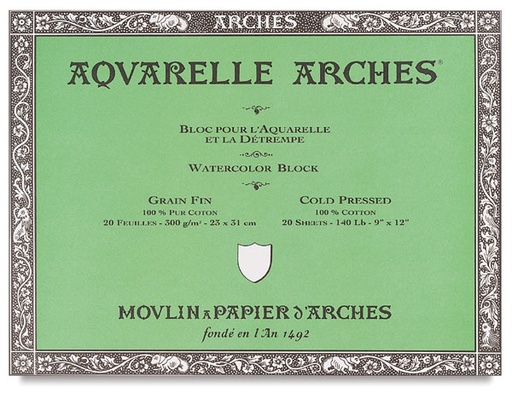 ARCHES ARCHES WATERCOLOUR BLOCK 140LB COLD PRESS 6X12