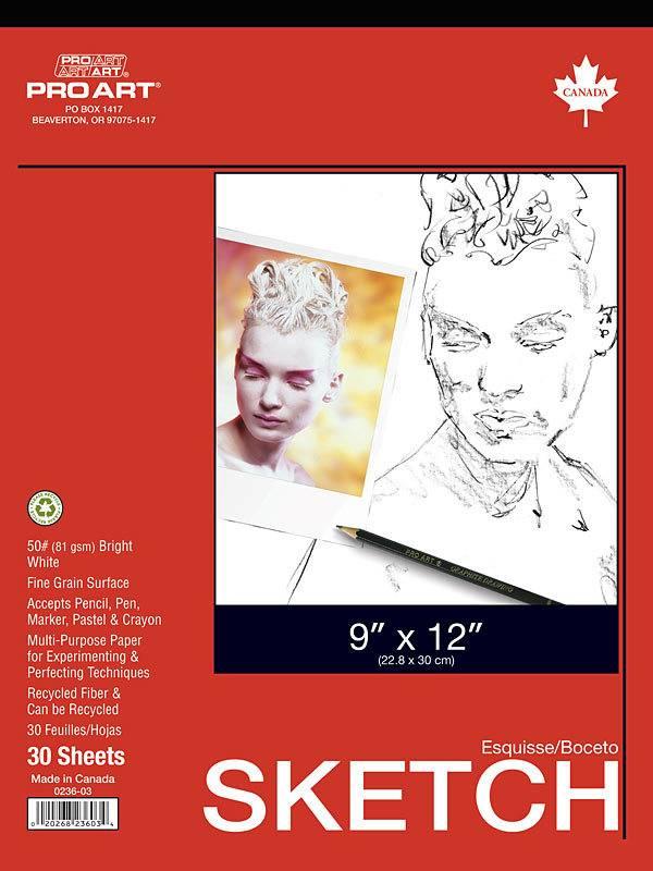 PRO ART PRO ART WHITE SKETCH PAD 9X12 50LB  30/SHT    PRO-0236-03