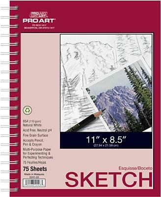 PRO ART PRO ART SKETCH PAD 8.5X11 60LB 75 SHEETS    PRO-0241-03