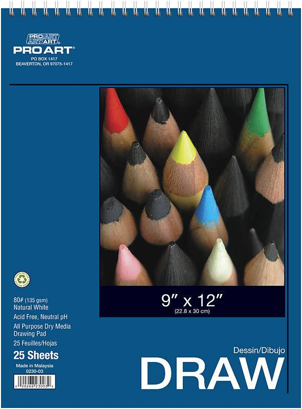 PRO ART PRO ART DRAWING PAD 9X12 80LB  25/SHT    PRO-0230-03