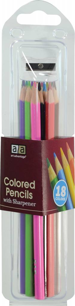 ART ADVANTAGE ART ADVANTAGE COLOURED PENCILS W/ SHARPENER SET/18