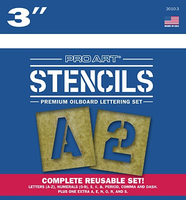 PRO ART PRO ART STENCILS LETTERS AND NUMBERS 3''