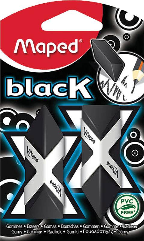 MAPED MAPED BLACK TRIANGLE ERASERS 2/PK