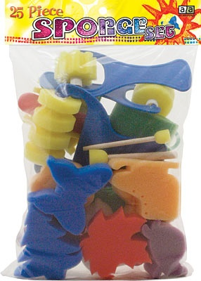ART ADVANTAGE ART ADVANTAGE SPONGE SHAPES, ROLLERS & BRUSHES 25/PK