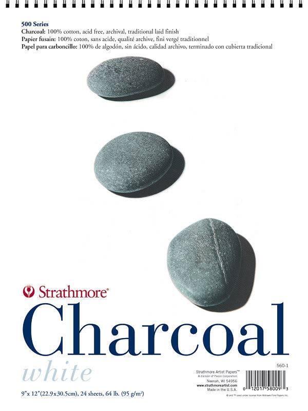 STRATHMORE STRATHMORE 500 CHARCOAL PAD WHITE 12X18 64LB  24SHT    560-2