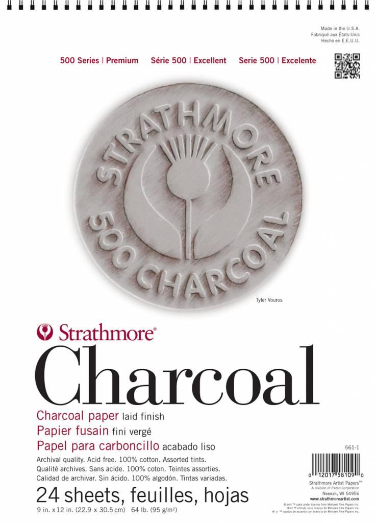 STRATHMORE STRATHMORE 500 CHARCOAL PAD ASSORTED TINTS 12X18 64LB  24SHT    561-2