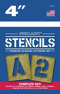 PRO ART PRO ART STENCILS LETTERS AND NUMBERS 4''