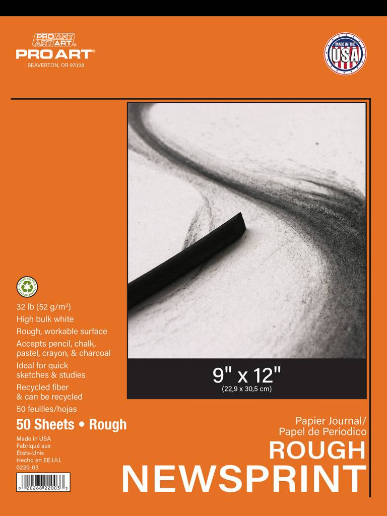 PRO ART PRO ART NEWSPRINT PAD ROUGH 9X12 50/SHT