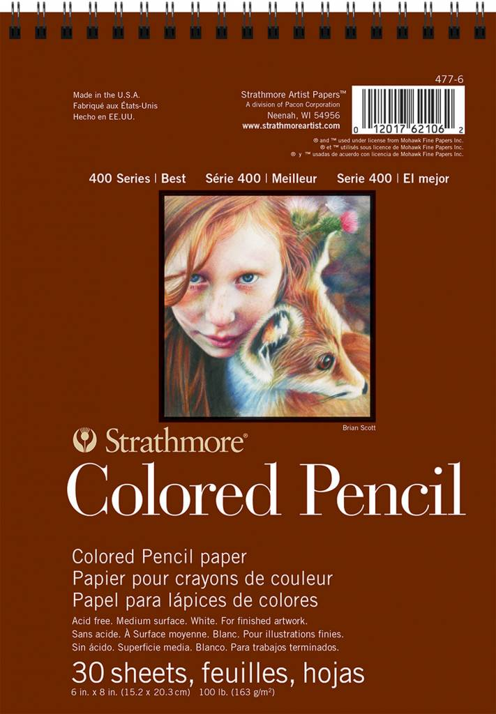 STRATHMORE STRATHMORE COLORED PENCIL PAD WIRE BOUND 6X8