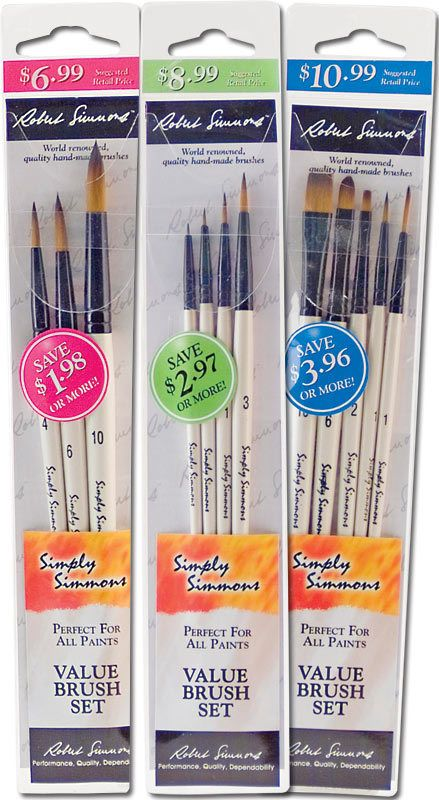 DALER ROWNEY SIMPLY SIMMONS VALUE BRUSH SET/4 LONG HANDLE SYNTHETIC