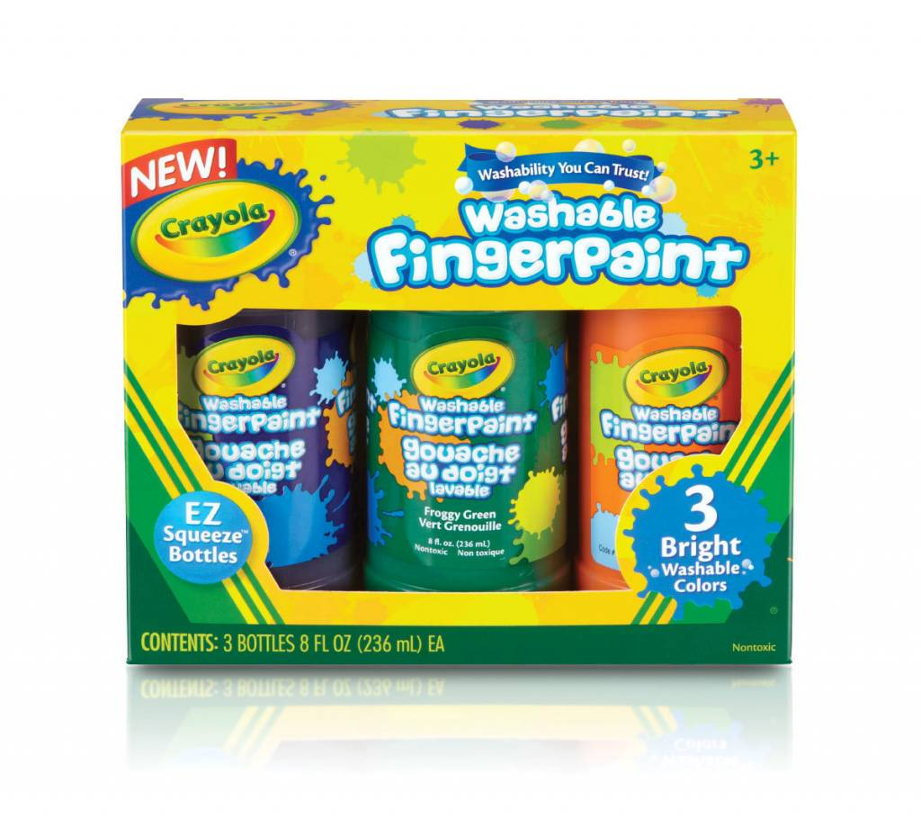 CRAYOLA CRAYOLA WASHABLE FINGERPAINT SET/3 8OZ JARS BRIGHT COLOURS