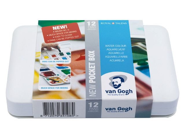 VAN GOGH WATERCOLOUR POCKET BOX HALF PAN SET/12