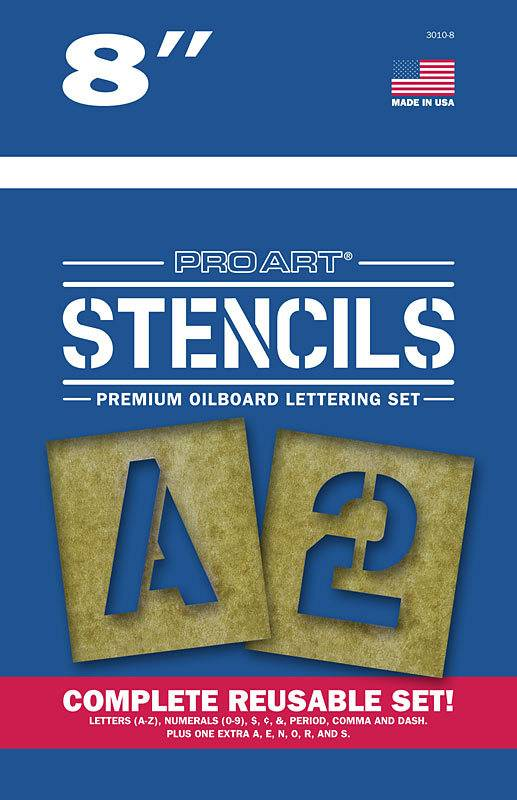"""PRO ART PRO ART STENCILS LETTERS AND NUMBERS 8"""""""