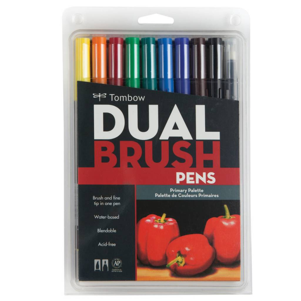TOMBOW TOMBOW DUAL BRUSH PRIMARY PEN SET/10