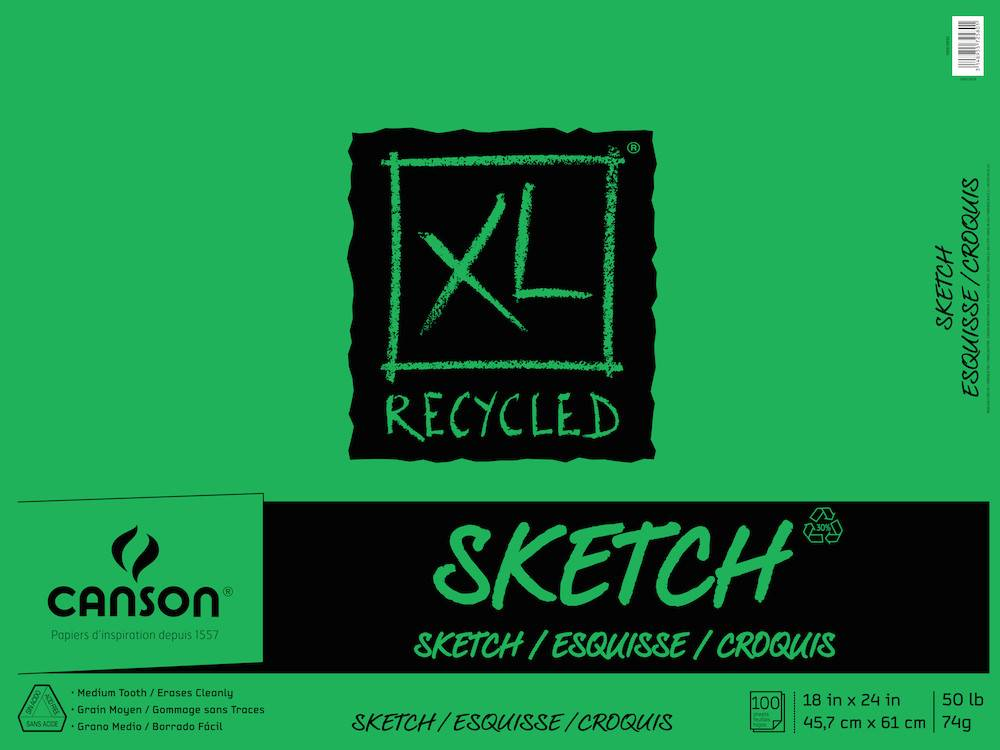 CANSON CANSON XL RECYCLED SKETCH PAD 100SH 50LB TAPE BOUND  18x24