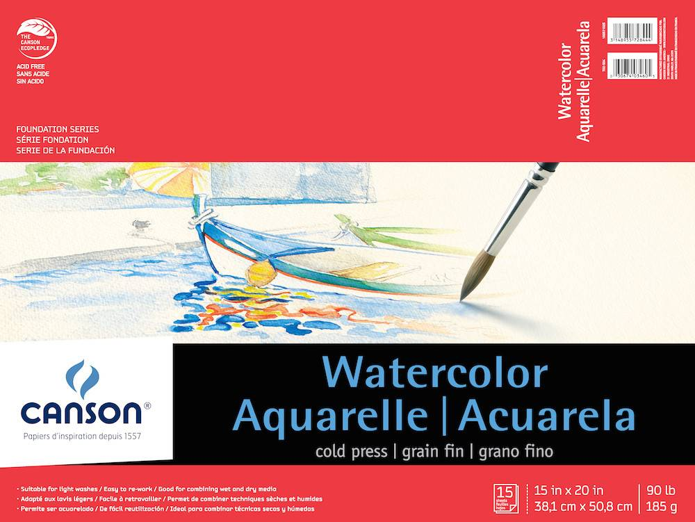 CANSON CANSON FOUNDATION WATERCOLOUR PAD 90LB
