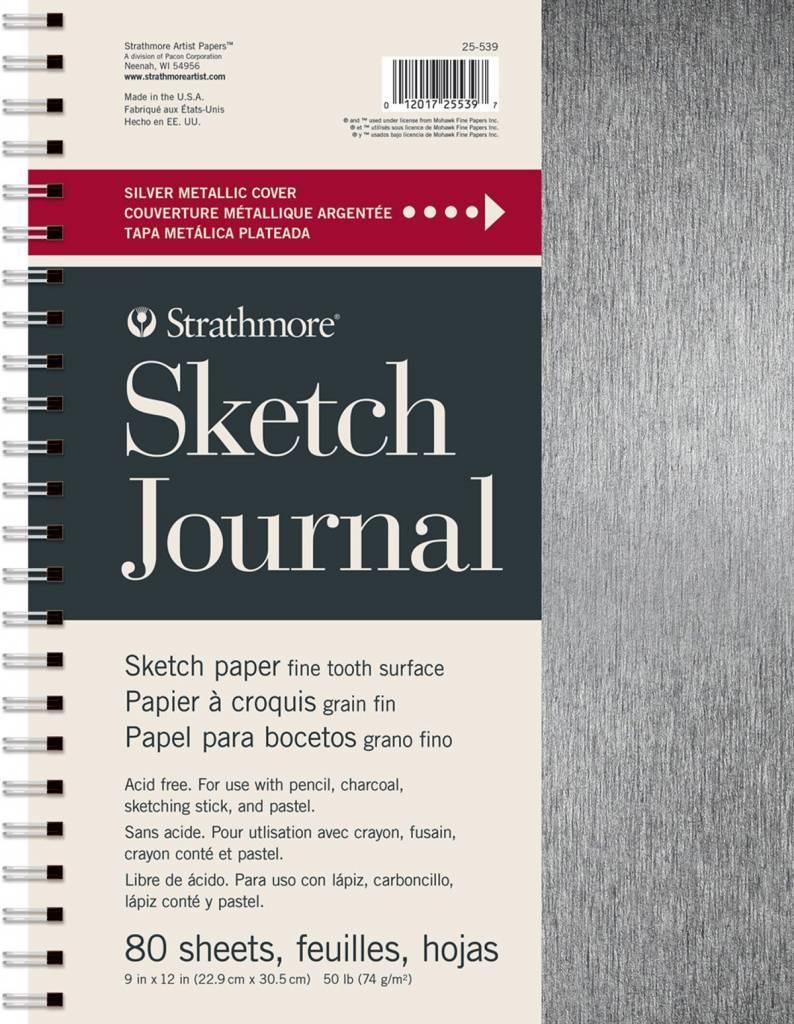 "STRATHMORE STRATHMORE ARTIST PAPERS METALLIC SILVER 9X12"" SKETCH JOURNAL 80 SHEET BOOK"