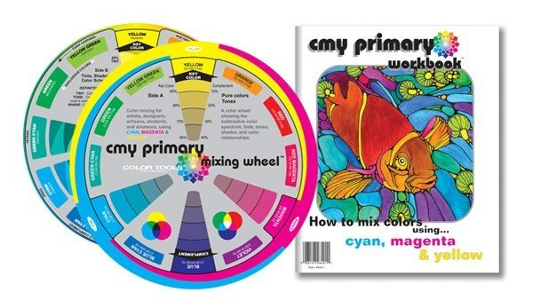 COLOR WHEEL COMPANY CMY PRIMARY  MIXING WHEEL & WORKBOOK  8 INCH