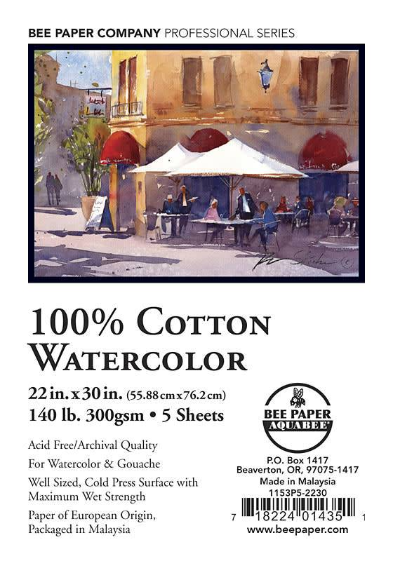 "BEE PAPER WATERCOLOUR  22"" x 30"" 140 lb. (300 gsm) AF 100% Cotton Watercolour Sheet"