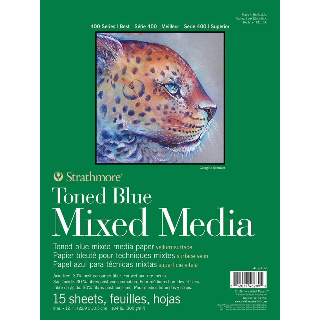 STRATHMORE TONED BLUE MIXED MEDIA PAD 9X12 TAPE BOUND 15/SHT STR-462-409