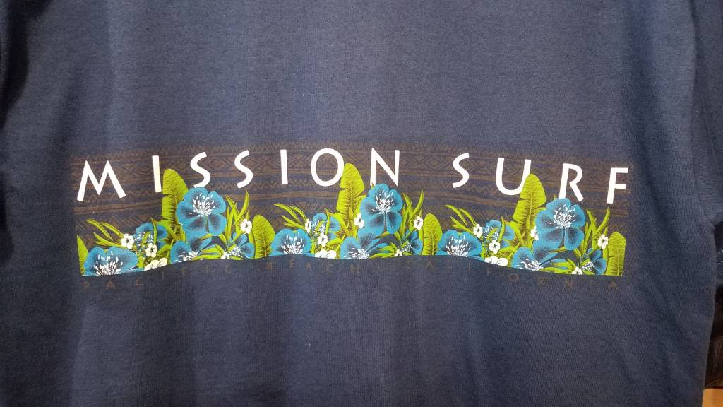 Mission Surf SURF BAND - BLUE FLORAL L/S TEE