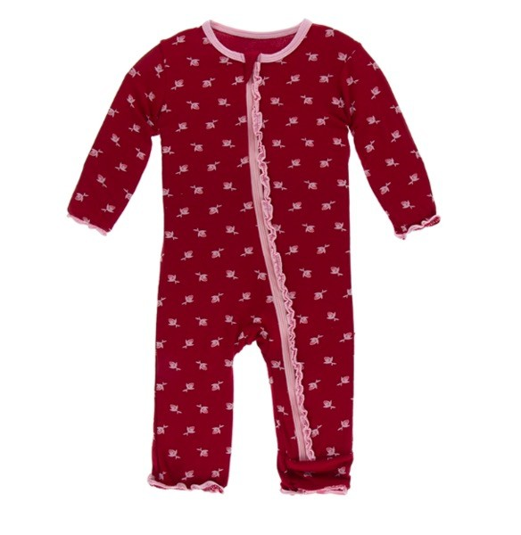 Kickee Pants Kickee Pants London Muffin Ruffle Coverall w/zipper