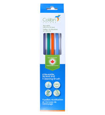 Colibri Colibri 4 Reusable Silicone Straws and Cleaning Brush